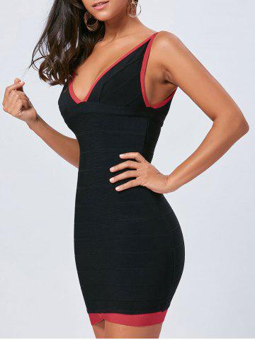 V Neck Bodycon Color Block Bandage Dress - Black - L