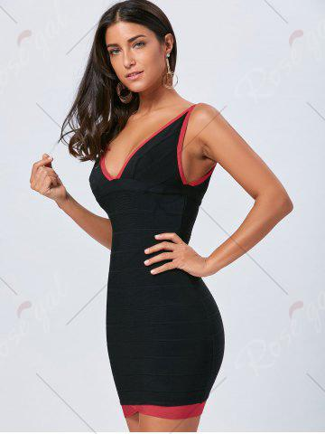 Outfit V Neck Bodycon Color Block Bandage Dress - L BLACK Mobile