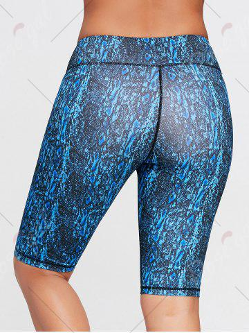 Latest Abstract Printed Tight Workout Shorts - S BLUE Mobile