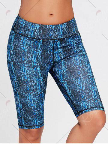 Online Abstract Printed Tight Workout Shorts - S BLUE Mobile