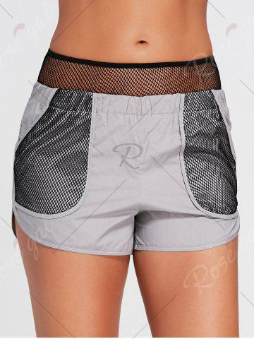 Discount Elastic Waist Running Shorts with Fishnet Pocket - S GRAY Mobile