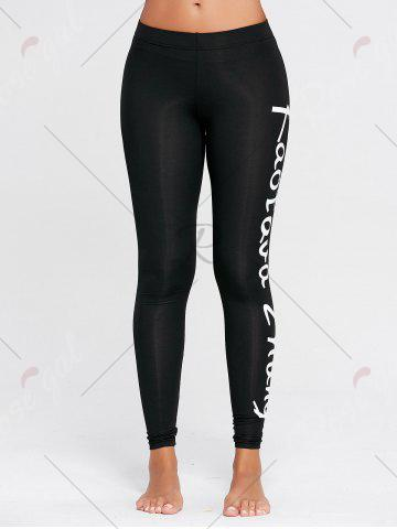 Discount Sports Graphic Words Tall Leggings - S BLACK Mobile
