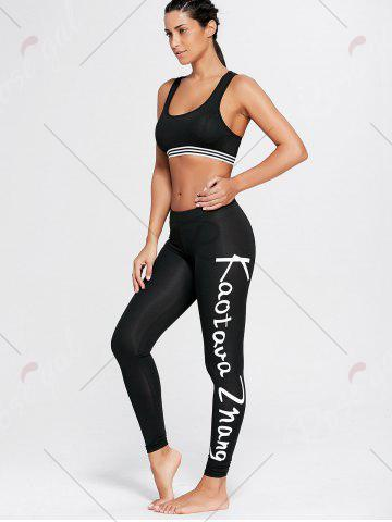 Cheap Sports Graphic Words Tall Leggings - L BLACK Mobile