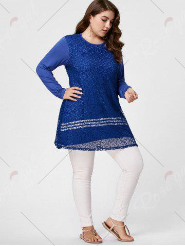 Chic Long Sleeve Plus Size Crochet Tunic Top - XL BLUE Mobile