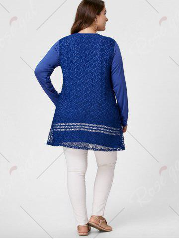 Affordable Long Sleeve Plus Size Crochet Tunic Top - XL BLUE Mobile