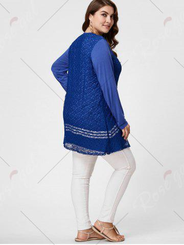 Latest Long Sleeve Plus Size Crochet Tunic Top - XL BLUE Mobile