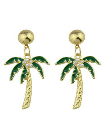 Trendy Faux Pearl Embellished Coconut Tree Pendant Earrings