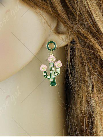 Trendy Faux Pearl Insert Cactus Pendant Earrings - GREEN  Mobile