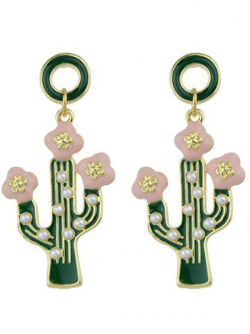 Chic Faux Pearl Insert Cactus Pendant Earrings - GREEN  Mobile