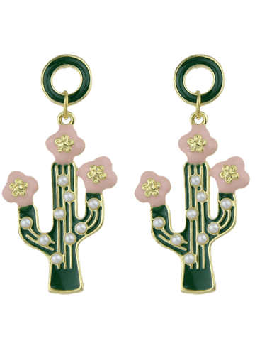 Buy Faux Pearl Insert Cactus Pendant Earrings - GREEN  Mobile