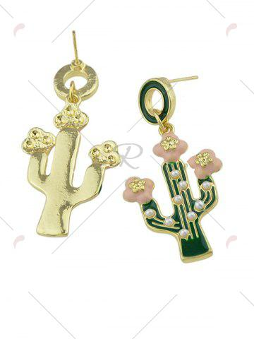 Hot Faux Pearl Insert Cactus Pendant Earrings - GREEN  Mobile