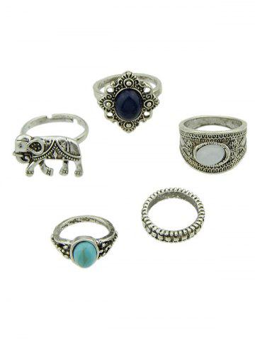 5 PCS Bohemia Elephant Faux Gem Rings Argent