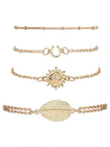4PCS Sun Leaf Bracelets Or