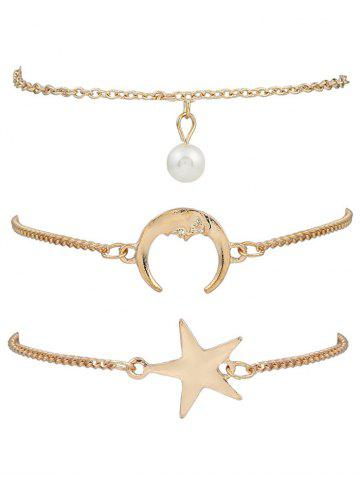 3 PCS Star Moon Bracelets Or