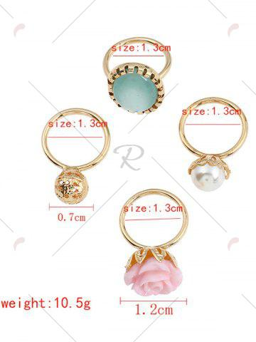 Fancy 4 PCS Faux Gem Rose Rings - GOLDEN  Mobile