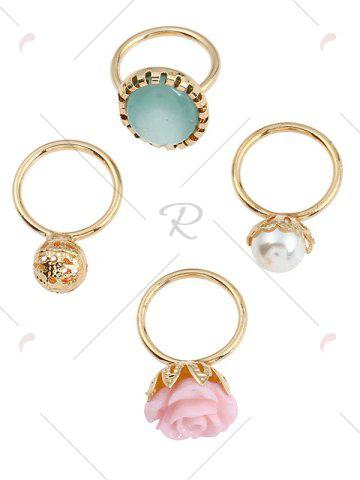 Online 4 PCS Faux Gem Rose Rings - GOLDEN  Mobile