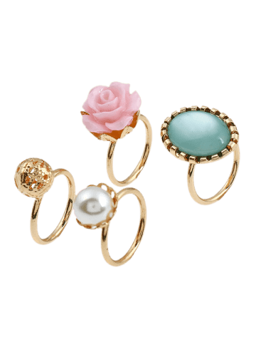 Discount 4 PCS Faux Gem Rose Rings - GOLDEN  Mobile