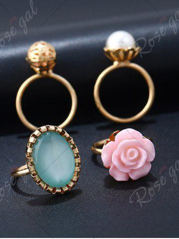 Affordable 4 PCS Faux Gem Rose Rings - GOLDEN  Mobile