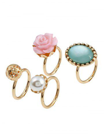 Unique 4 PCS Faux Gem Rose Rings - GOLDEN  Mobile