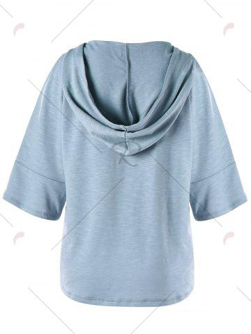 Outfits Lattice Slit Sleeve Hooded Top - 2XL LIGHT BLUE Mobile
