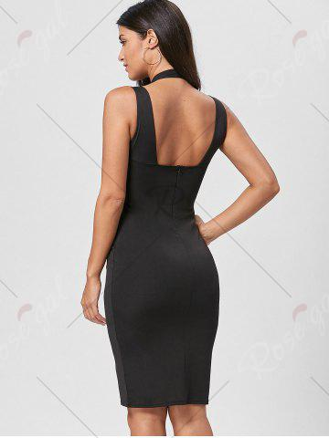 Trendy Open Back Plunging Neck Sheath Dress - XL BLACK Mobile