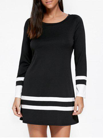 Long Sleeve Two Tone Tee Dress - Black - L