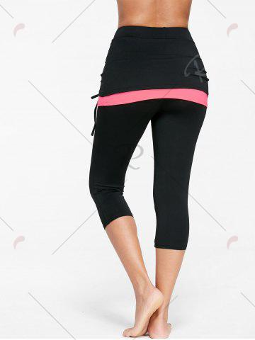 Affordable Shirred Two Tone Skirted Capris - M FLUORESCENT PINK Mobile