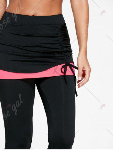 Buy Shirred Two Tone Skirted Capris - L FLUORESCENT PINK Mobile