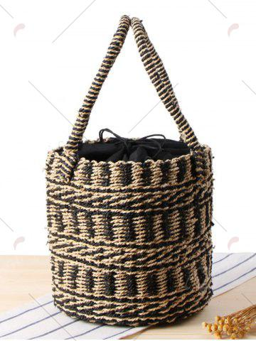Online Straw Color Block String Tote Bag - BLACK  Mobile
