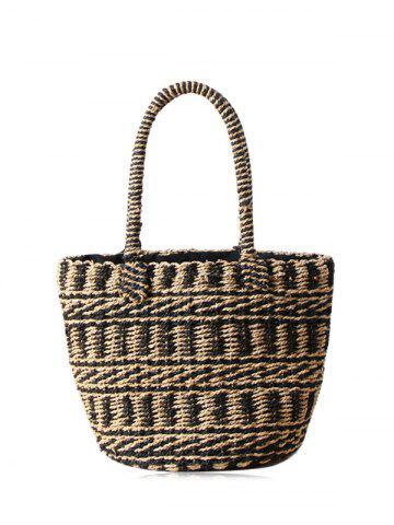 Trendy Straw Color Block String Tote Bag - BLACK  Mobile