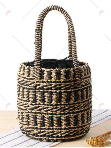 Buy Straw Color Block String Tote Bag - BLACK  Mobile