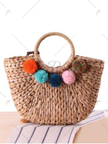 Hot Pom Pom Straw Tassels Tote Bag - CAMEL  Mobile
