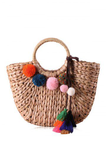 Buy Pom Pom Straw Tassels Tote Bag - CAMEL  Mobile