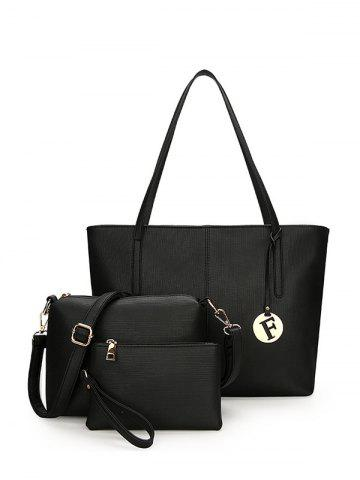 Faux Leather 3 Pieces Shoulder Bag Set - Black