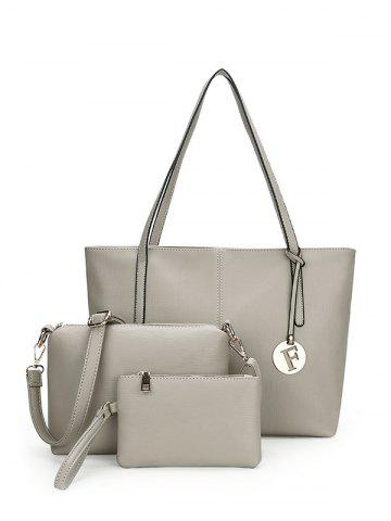 Latest Faux Leather 3 Pieces Shoulder Bag Set GRAY