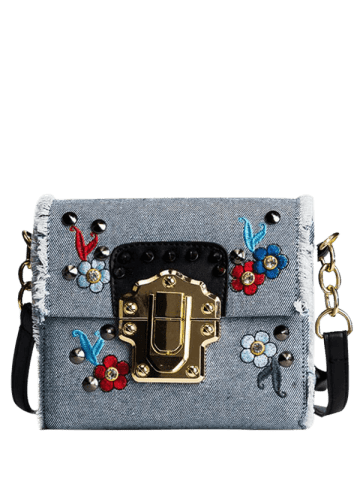 Outfit Denim Rivets Embroidered Crossbody Bag - BLUE  Mobile