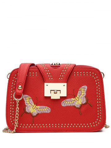 Shops Embroidery Studded Chain Crossbody Bag - RED  Mobile