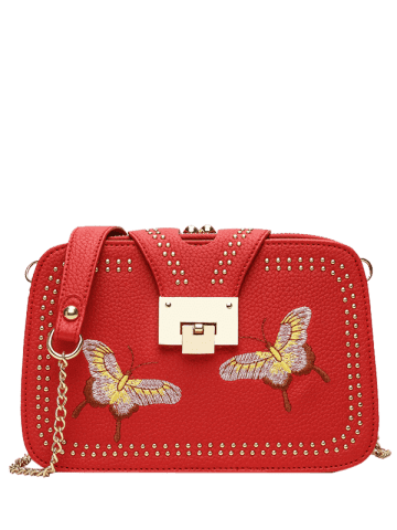 Chic Embroidery Studded Chain Crossbody Bag - RED  Mobile