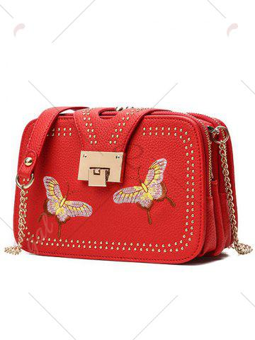 Latest Embroidery Studded Chain Crossbody Bag - RED  Mobile