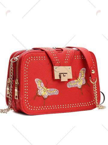 Outfit Embroidery Studded Chain Crossbody Bag - RED  Mobile