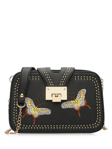 Outfit Embroidery Studded Chain Crossbody Bag - BLACK  Mobile