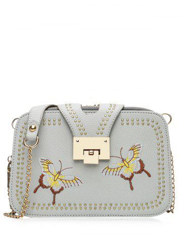 Chic Embroidery Studded Chain Crossbody Bag - GRAY  Mobile