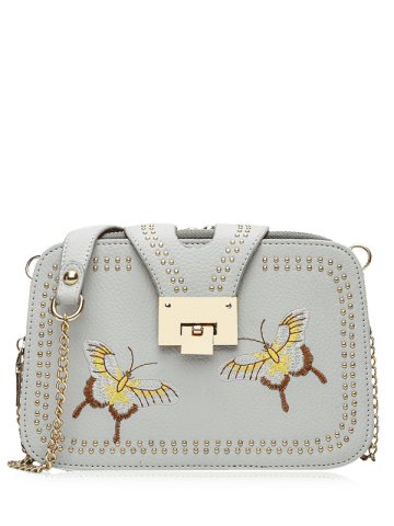 Shop Embroidery Studded Chain Crossbody Bag - GRAY  Mobile