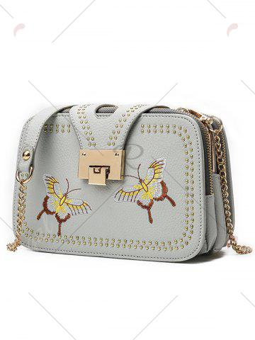 Latest Embroidery Studded Chain Crossbody Bag - GRAY  Mobile