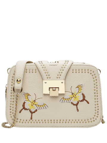 Hot Embroidery Studded Chain Crossbody Bag - PALOMINO  Mobile