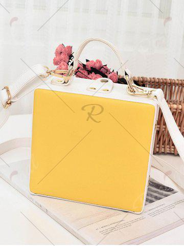 Unique Box Shaped Floral Print Crossbody Bag - YELLOW  Mobile