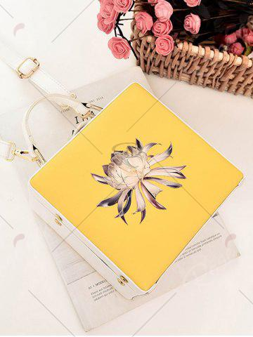 Best Box Shaped Floral Print Crossbody Bag - YELLOW  Mobile