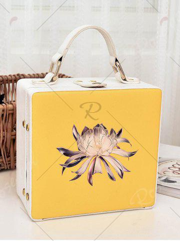 Store Box Shaped Floral Print Crossbody Bag - YELLOW  Mobile