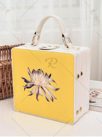 Shop Box Shaped Floral Print Crossbody Bag - YELLOW  Mobile