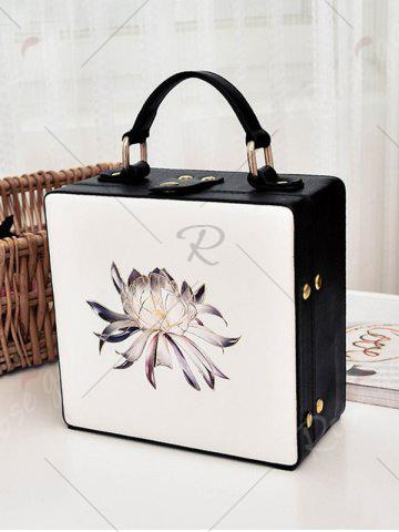 Unique Box Shaped Floral Print Crossbody Bag - OFF-WHITE  Mobile